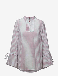 TJW STRIPED SLEEVE DETAIL BLOUSE EUR - CLASSIC WHITE/MULTI