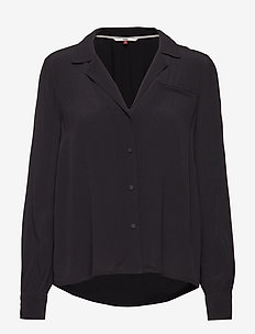TJW ESSENTIAL OPEN NECK BLOUSE - TOMMY BLACK