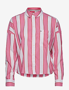 TJW CROPPED BOXY MULTI SHIRT - SHOCKING PINK / MULTI