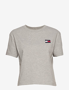 TJW TOMMY BADGE TEE - t-shirts - lt grey htr