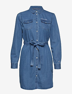 TJW DENIM SHIRTDRESS - MID INDIGO