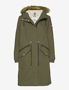 TJW COTTON HOODED PARKA - parka coats - olive night