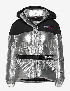 TJW MIX MEDIA BELTED JACKET - SILVER