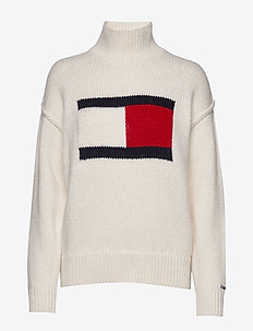TJW TOMMY FLAG SWEATER - SNOW WHITE