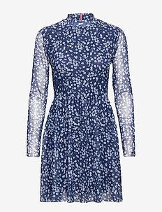 TJW FLORAL PRINTED MESH DRESS - SCATTERED FLORAL / BLUE DEPTHS