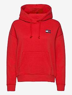 TJW TOMMY BADGE HOODIE - sweatshirts & hoodies - deep crimson