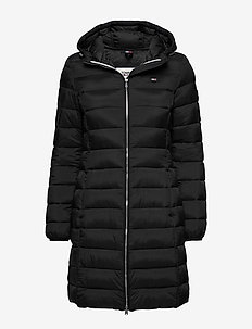 TJW BASIC QUILTED HOODED COAT - padded coats - tommy black