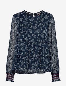 TJW SMOCK LONGSLV PRINT BLOUSE - blouses à manches longues - paisley print / twilight navy
