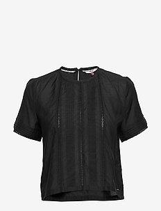 TJW PINTUCK DETAIL T - t-shirts - black