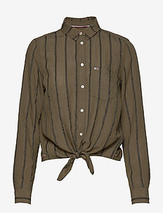 TJW FRONT KNOT SHIRT - long-sleeved shirts - olive tree / black