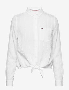 TJW FRONT KNOT SHIRT - long-sleeved shirts - white