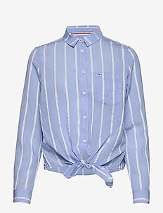 TJW FRONT KNOT SHIRT - chemises à manches longues - white / moderate blue