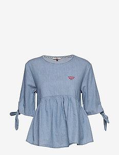TJW SLEEVE BOW CHAMB - bluzki z krótkim rękawem - light indigo