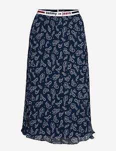 TJW PLEATED MIDI SKIRT - midi kjolar - paisley print / twilight navy