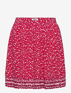TJW EMBROIDERY DETAI - jupes courtes - floral print / deep crimson