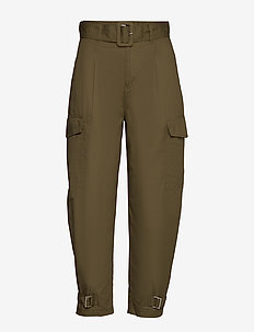 TJW HIGH RISE BELTED PANT - pantalons droits - olive tree