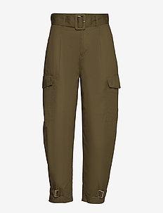 TJW HIGH RISE BELTED PANT - bukser med lige ben - olive tree