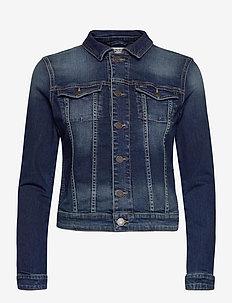 VIVIANNE SLIM DENM TRUCKER BXDBS - denim jackets - box dark blue stretch