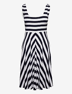 TJW SUMMER STRIPE FITFLARE DRESS - midi kjoler - twilight navy / white