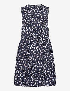 TJW PRINTED DROP WAIST DRESS - short dresses - floral print / twilight navy
