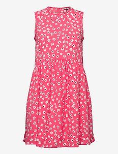 TJW PRINTED DROP WAIST DRESS - short dresses - floral print / glamour pink