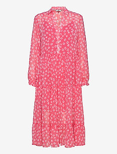 TJW FLORAL MIDI SHIRT DRESS - shirt dresses - floral print / glamour pink