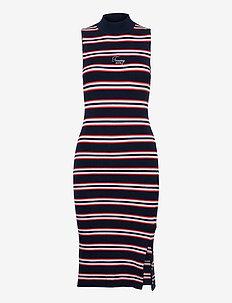 TJW SIDE SLIT STRIPE DRESS - midi dresses - twilight navy / multi