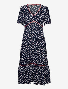TJW PRINTED LACE TRIM DRESS - maxikjoler - floral print / twilight navy