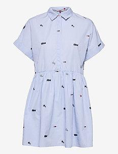 TJW CRITTER DROP WAIST DRESS - midi dresses - white stripe / moderate blue