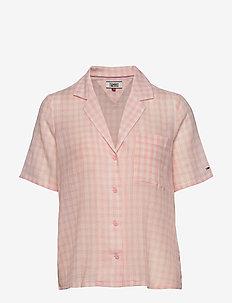TJW SUMMER CHECK BOWLING SHIRT - chemises à manches courtes - sweet peach gingham