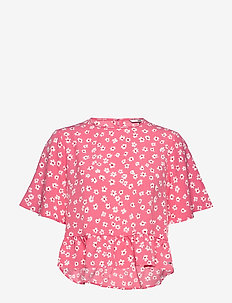 TJW PRINTED PEPLUM TOP - kortærmede bluser - floral print / glamour pink
