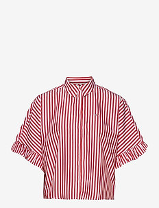 TJW STRIPED FRILL SLEEVE BLOUSE - overhemden met korte mouwen - deep crimson / white