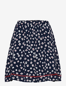 TJW PRINTED LACE TRIM SKIRT - jupes courtes - floral print / twilight navy