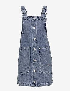 SHORT DUNGAREE SNAP DRESS MMBRG - robes en jeans - marcia mid blue rigid