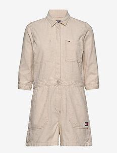 SHORT JUMPSUIT - kombinezony - peyton white cotton  linen