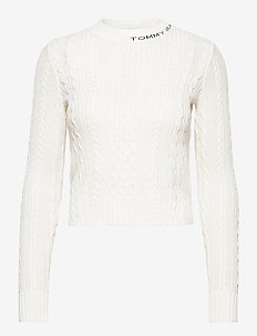TJW BRANDED NECK CABLE SWEATER - jumpers - snow white
