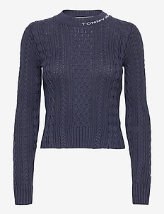 TJW BRANDED NECK CABLE SWEATER - jumpers - twilight navy