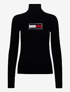TJW TOMMY FLAG ROLL NECK - turtlenecks - black