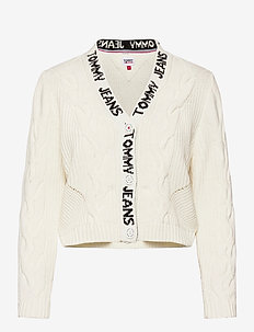 TJW BRANDED NECK CARDIGAN - cardigans - snow white
