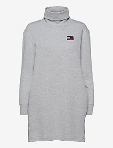 TJW BADGE MOCK NECK DRESS - turtlenecks - silver grey htr
