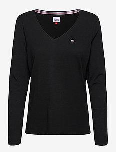 TJW JERSEY V NECK LONGSLEEVE - long-sleeved tops - black
