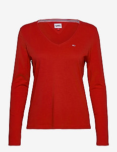 TJW JERSEY V NECK LONGSLEEVE - long-sleeved tops - deep crimson