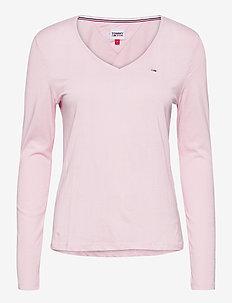 TJW JERSEY V NECK LONGSLEEVE - long-sleeved tops - romantic pink