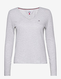 TJW JERSEY V NECK LONGSLEEVE - long-sleeved tops - silver grey htr