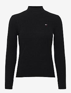 TJW RIB MOCK NECK LONGSLEEVE - long-sleeved tops - black