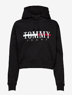 TJW RELAXED CROP LOGO HOODIE - sweatshirts & hoodies - black
