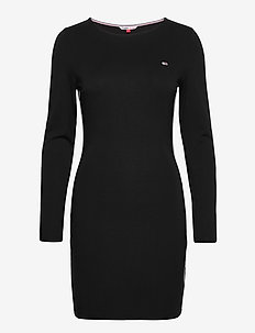 TJW TAPE DETAIL LONGSLEEVE DRESS - midi dresses - black