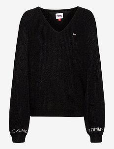 TJW SLEEVE DETAIL LOGO SWEATER - pullover - black