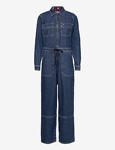 REGULAR ZIP BOILER SUIT PMMBRG - jumpsuits - plaid mix mid blue rigid
