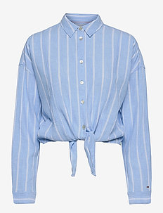 TJW RELAXED FRONT KNOT SHIRT - långärmade skjortor - moderate blue / stripe